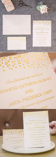 romantic polka dots gold foil wedding invitation cards