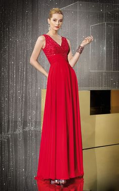 Glamorous V-neck Crystal-beaded Chiffon A-line Prom Dress With Ruched Band