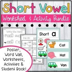 Practice short a vowel patterns and CVC words with over 40 pages of engaging no prep worksheets, activities and anchor charts! Short A Activities, 2nd Grade Activities, Library Activities, Phonics Activities, Classroom Resources, Teaching Resources, Kindergarten Literacy, Literacy Centers, Long Vowel Worksheets