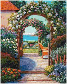 Victorian Girls Blue Garden Gazebo Swans Bridge Wall Wallpaper Border Wallcover