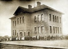 Students In Front Of The First Westminster School, Lethbridge, Alberta, 1906.