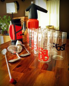 Vintage Poppy-Red-and-Black Bar Set for 10--Kidde Soda Syphon/Seltzer Bottle--Golf Bag Bar Tool Set--Glass Tumblers w/ Old-School Typography. $42.00, via Etsy.
