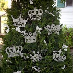 Adorenaments® - His Royal Names Set.   These seven royal names of Jesus etched into each unique silver crown reveal the noble nature of our true King.