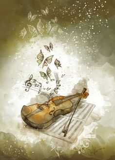 Violin music art with butterflies Violin Art, Violin Music, Art Music, Violin Drawing, Music Painting, Saxophone, Et Wallpaper, Music Love, Vintage Images