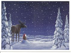 *Gnomes by Eva Melhuish! Christmas Mood, Vintage Christmas, Christmas Crafts, Reindeer Christmas, Christmas Music, Illustration Noel, Christmas Illustration, Scandinavian Art, Winter Art