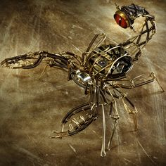 Steampunk Scorpion clockwork Robot Sculpture  - Copper Brass and old Watch movements. $900.00, via Etsy.