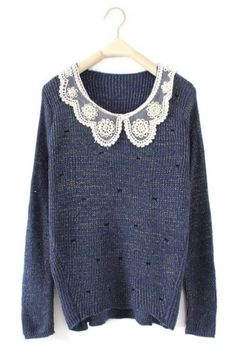 Dark Blue Long Sleeve Lace Lapel Bow Print Sweater