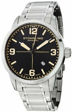 Stuhrling Original Men's 449B.331168 Aviator Tuskegee Elite Swiss Quartz Date Stainless Steel Bracelet Watch Stuhrling Original. $158.00. Water-resistant to 50 M (165 feet). Black dial with orange Arabic numerals and markers with date window. Polished 316l surgical grade stainless steel round shaped case. Protective krysterna crystal on front and decorated case back. Polished and brushed finish stainless steel five piece link bracelet with fold over push button clasp
