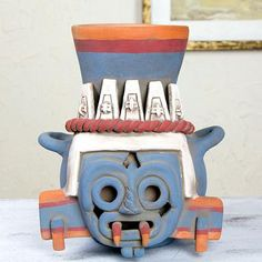 Ceramic vessel, 'God of Rain and Lightning' - Handcrafted Archaeological Ceramic Aztec Sculpture (image 2)