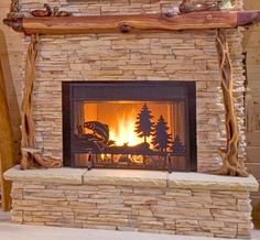 Log home company based in Claremont, NH designing and building log homes and cabins since Custom designed and built nationwide with builders across the United States. Fireplace Screens With Doors, Decorative Fireplace Screens, Rustic Fireplaces, Fireplace Mantels, Custom Screens, Fish House, Reclaimed Furniture, Black Doors, Basement Remodeling