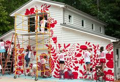We teamed up with Winter Water Factory & Plaid to paint a giant mural on our studio! Door Murals, Mural Wall Art, Mural Painting, House Painting, Fence Painting, Paintings, Murals Street Art, Outdoor Art, Outdoor Walls