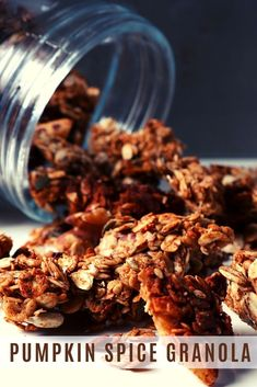 This is, actually, my year-round go-to granola recipe! But, come October, I go full pumpkin spice mode! Then, when spring comes, I go back to just cinnamon! Add it to Greek yogurt and drizzle a bit of honey, and you'll have the perfect snack! #homemadegranola #pumpkinspice #vegetariansnacks Vegetarian Snacks, Food Goals, Pumpkin Pie Spice, Greek Yogurt, Granola, Peanut Butter, Cinnamon, Spices, Honey