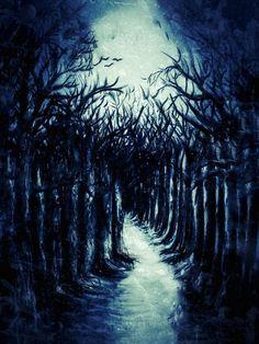 Moonlight forest - Amanda's Imaginarium Tomboy Outfits, Good Cause, Main Colors, Moonlight, Paths, Creepy, World, Artwork, Helmet