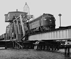 L&N, Pascagoula, Mississippi, 1958 Mobile-bound Louisville and Nashville Railroad extra freight train crosses swing bridge at Pascagoula, Mississippi, in August 1958. Photograph by J. Parker Lamb, © 2016, Center for Railroad Photography and Art. Lamb-01-140-04