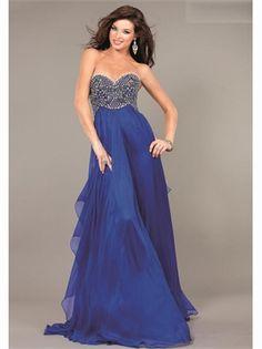 Blue Sweetheart Beading Chiffon 2013 Prom Dresses