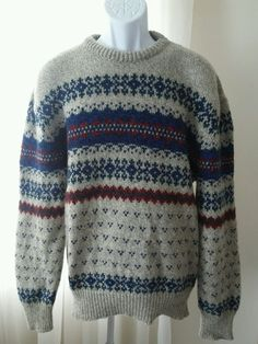 Vtg Tidewater Traders Men Wool Nordic Sweater Large Crew Neck Heather Multi USA in Clothing, Shoes & Accessories, Men's Clothing, Sweaters | eBay