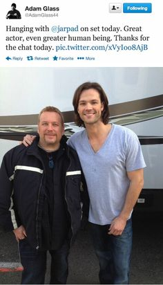 Adam Glass and Jared behind the scenes; posted by Adam Glass via Twitter #jarpad