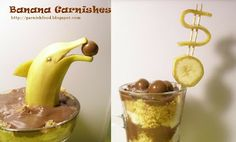 Fruit carving art and food garnishing Cute Food, Good Food, Vanilla Pudding Desserts, Banana Dessert, Food Carving, Edible Creations, Food Garnishes, Fruit Dishes, Sugar And Spice