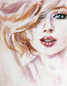 Купить Акварель She - подарок любимой, любовь, акварель, бежевый, портрет акварелью, девушка акварелью