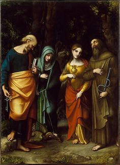 Saints Peter, Martha, Mary Magdalen, and Leonard Correggio (Antonio Allegri) (Italian, Correggio, active by 1514–died 1534 Correggio) Medium: Oil on canvas
