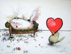 """Ronald Searle. """"Darling, this is bigger than the both of us."""""""