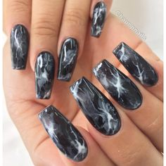 Black Smoke Marble Long Square Tip Nails #nail #nailart