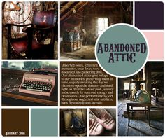"January mood board, ""Abandoned Attic."" #PaintedPlanet #artlicensing"