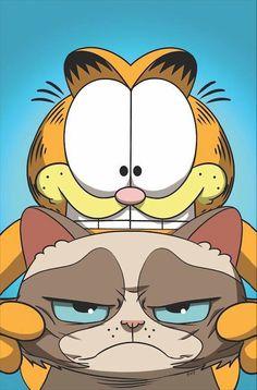 Garfield et Grumpy Cat Jim Davis, Grumpy Cat Humor, Her Brother, Comic Strips, Funny Cats, Snoopy, Comics, Dogs, Anime