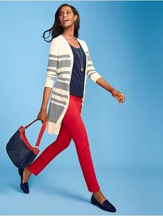 8555d209afa Talbots Long Pima Cotton Stripe Cardigan Striped Cardigan