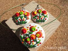 Blooming garden jewley set - Polymer clay jewelry - Dangling earrings - Colorful pendant - Gift ideas - Spring flowers