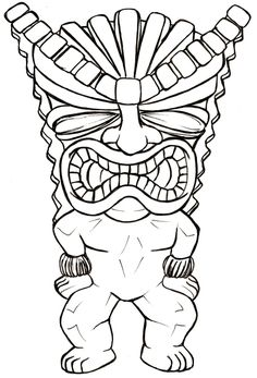 Tiki Man Tattoo by Metacharis on DeviantArt Tiki Tattoo, Hawaiianisches Tattoo, Wood Carving Patterns, Carving Designs, Tiki Maske, Coloring Books, Coloring Pages, Tiki Faces, Tiki Statues