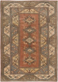 Hand-knotted Ushak Copper Wool Rug