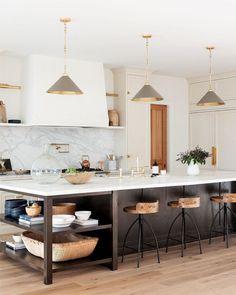 The combination of black, white, and wood element never disappoints!   #kitchengoals #kitchenideas #kitchendesign Home Kitchens, Cheap Home Decor, Kitchen Remodel, Kitchen Design, Kitchen Inspirations, Kitchen Decor, New Kitchen, Kitchen Interior, Home Decor