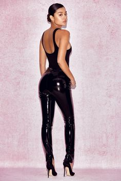 House of CB: Leggings : 'Haridan' Black Patent Stretch Vinyl Trousers Latex Fashion, Fashion Pants, Girl Fashion, Fashion Outfits, Vinyl Trousers, Latex Pants, Latex Catsuit, Bodycon, Sexy Latex