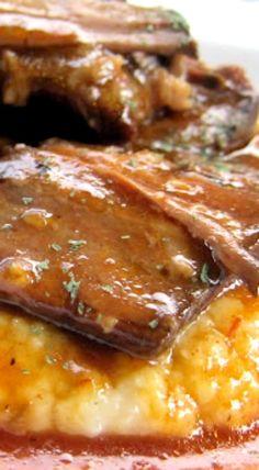 BBQ Pot Roast over Cheddar Ranch Grits
