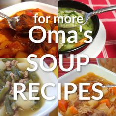 Easy German homemade soup recipes, such as Goulash Soup and Lentil Soup. These quick soups show several methods to making soup with that traditional German taste. Homemade Beef Broth, Homemade Soup, Vegetable Soup Recipes, Healthy Soup Recipes, Detox Recipes, Chicken Recipes, Goulash Soup Recipes, Sauerkraut Soup Recipe, Cucumber Soup Recipe