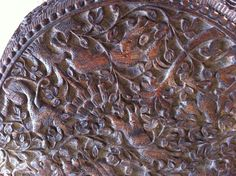 Vintage Indian carved and fret cut Padouk wood table on tri form supports | eBay