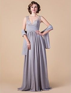 Sheath/Column V-neck Floor-length Chiffon Mother of the Brid... – USD $ 98.99