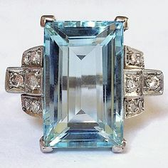 Art Deco Aquamarine Platinum Diamond Vintage Ring