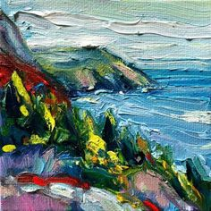 """""""Hiking Sugar Loaf"""" - original oil mini painting by Irene Duma. on gallery wrapped canvas with painted sides/ Mini Paintings, Fishing Villages, Newfoundland, Oil Painting On Canvas, Irene, Wrapped Canvas, Places To Go, Hiking, Fine Art"""