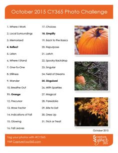 October 2015 CY365 Photo Challenge List