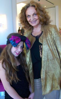 Cecilia Cassini is a 12 year old fashion designer, shown here posing with one of the biggest entrepreneurs in fashion, Diane von Furstenberg. nbd