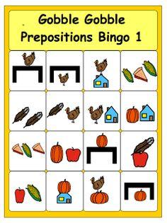 Gobble Gobble--Thanksgiving Preposition Bingo (free printable as always)