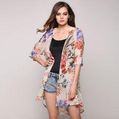 New Stylish Ladies Women Casual Chiffon Medium Sleeve Floral Cardigan Outwear