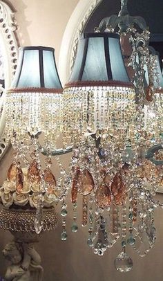 Ah, The Pretty Things // blue lampshades with crystals