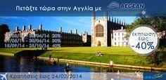 ✦Πετάξτε με έκπτωση έως 40% !! Η Aegean airlines και το aktinatickets.gr,σας ταξιδεύουν στο Ηνωμένο Βασίλειο. •Λονδίνο•Μάντσεστερ•Μπίρμινγχαμ  Έκπτωση έως 40% 15.03.2014-30.04.2014 -20%...Δείτε περισσότερα