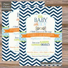 Boys baby shower invitation chevron, oh boy, bowtie, navy, lime, orange - digital, printable file