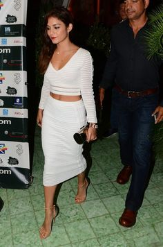 Vanesaa Hudgens in white crop top and matching pencil skirt