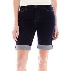 jcp | St. John's Bay® Secretly Slender Denim Bermuda Shorts