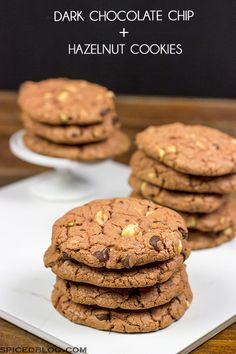 Looking for a fun twist on the classic chocolate cookie? | Dark Chocolate Chip + Hazelnut Cookies | Spicedblog.com